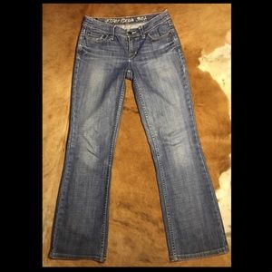 *Esprit* Star straight bootleg mid wash jeans.